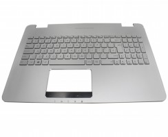 Tastatura Asus N551ZU argintie cu Palmrest argintiu iluminata backlit. Keyboard Asus N551ZU argintie cu Palmrest argintiu. Tastaturi laptop Asus N551ZU argintie cu Palmrest argintiu. Tastatura notebook Asus N551ZU argintie cu Palmrest argintiu