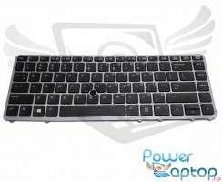 Tastatura HP EliteBook 840 G1 neagra cu rama gri iluminata backlit. Keyboard HP EliteBook 840 G1 neagra cu rama gri. Tastaturi laptop HP EliteBook 840 G1 neagra cu rama gri. Tastatura notebook HP EliteBook 840 G1 neagra cu rama gri
