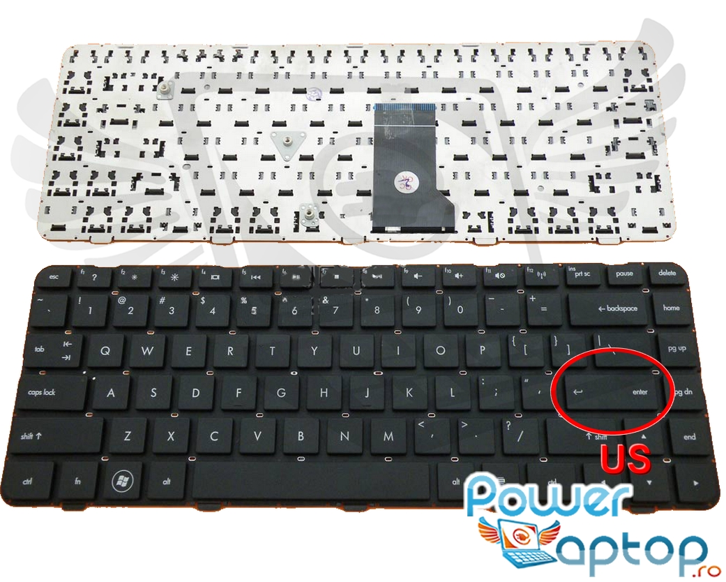 Tastatura HP Pavilion DM4 1030 neagra layout US fara rama enter mic imagine powerlaptop.ro 2021