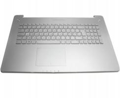 Tastatura Asus  N750JK argintie cu Palmrest argintiu iluminata backlit. Keyboard Asus  N750JK argintie cu Palmrest argintiu. Tastaturi laptop Asus  N750JK argintie cu Palmrest argintiu. Tastatura notebook Asus  N750JK argintie cu Palmrest argintiu
