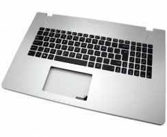 Tastatura Asus  90R-NAL1K3100Y neagra cu Palmrest argintiu iluminata backlit. Keyboard Asus  90R-NAL1K3100Y neagra cu Palmrest argintiu. Tastaturi laptop Asus  90R-NAL1K3100Y neagra cu Palmrest argintiu. Tastatura notebook Asus  90R-NAL1K3100Y neagra cu Palmrest argintiu