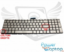 Tastatura HP 15-CB Champagne iluminata. Keyboard HP 15-CB. Tastaturi laptop HP 15-CB. Tastatura notebook HP 15-CB
