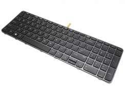 Tastatura HP EliteBook 755 G3 Nragra cu rama neagra iluminata backlit. Keyboard HP EliteBook 755 G3 Nragra cu rama neagra. Tastaturi laptop HP EliteBook 755 G3 Nragra cu rama neagra. Tastatura notebook HP EliteBook 755 G3 Nragra cu rama neagra