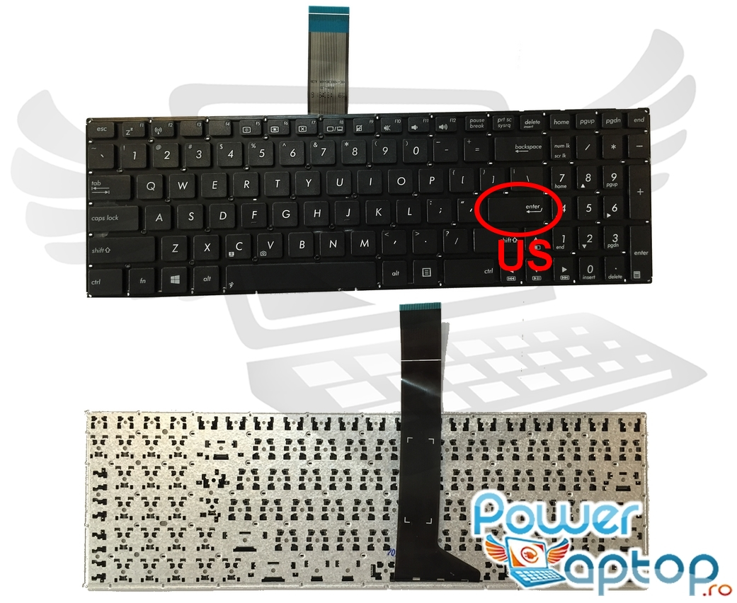 Tastatura Asus X552CA layout US fara rama enter mic imagine