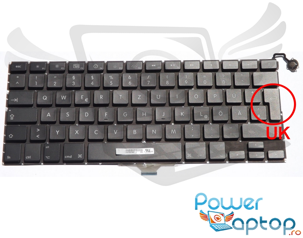 Tastatura Apple MacBook Air 13 A1304 2009 layout UK fara rama enter mare imagine