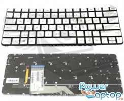 Tastatura HP Spectre X360 G2 argintie iluminata backlit. Keyboard HP Spectre X360 G2 argintie. Tastaturi laptop HP Spectre X360 G2 argintie. Tastatura notebook HP Spectre X360 G2 argintie