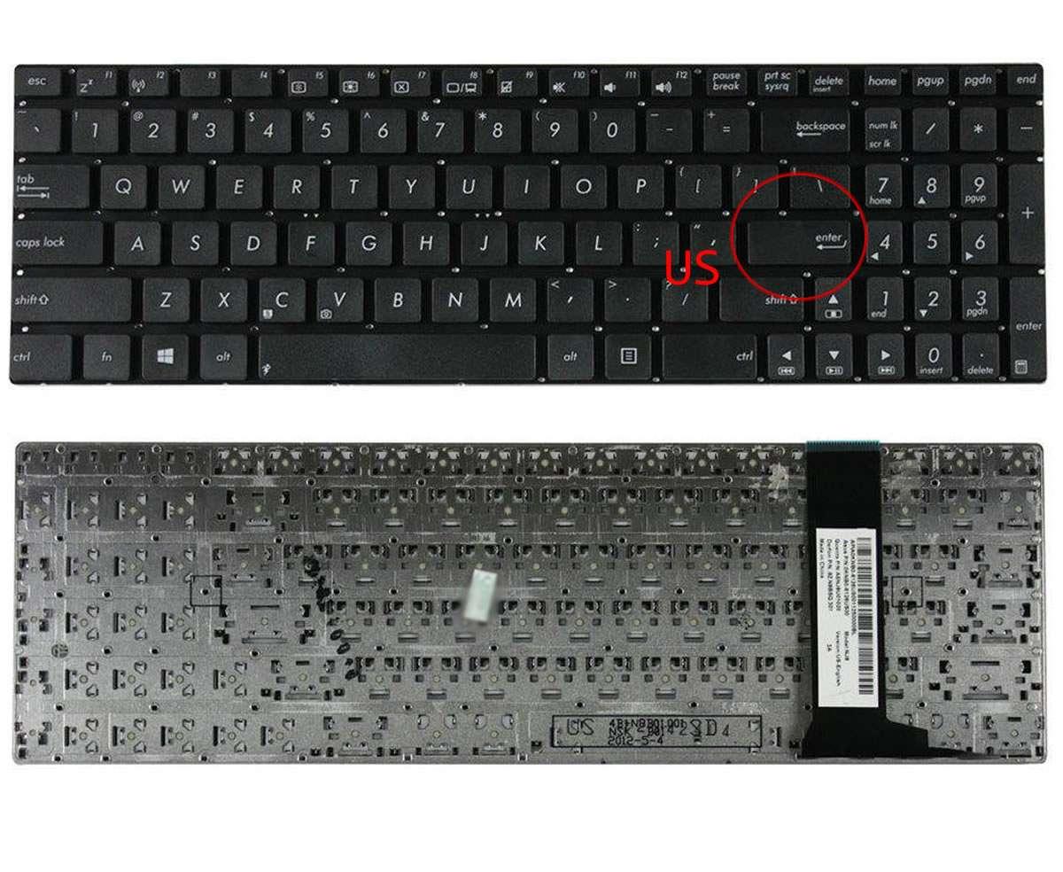 Tastatura Asus N76VJ layout US fara rama enter mic imagine powerlaptop.ro 2021