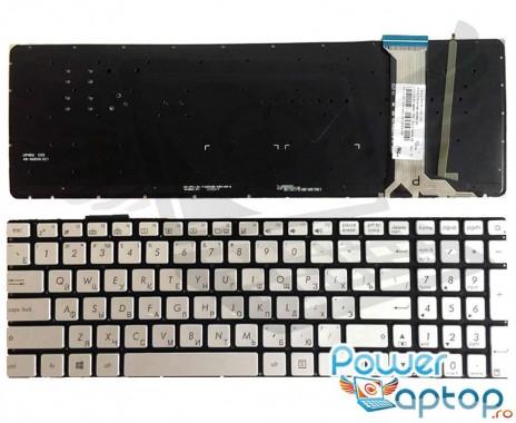 Tastatura Asus  G551JW gri iluminata. Keyboard Asus  G551JW. Tastaturi laptop Asus  G551JW. Tastatura notebook Asus  G551JW