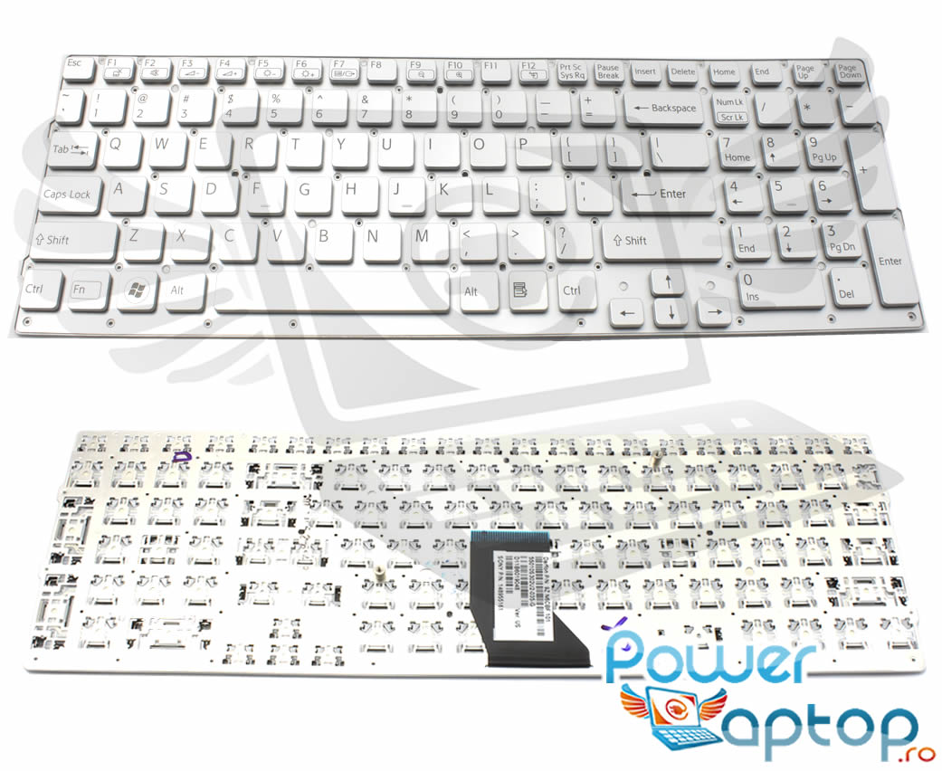 Tastatura argintie Sony Vaio VPCCB25FX layout US fara rama enter mic imagine
