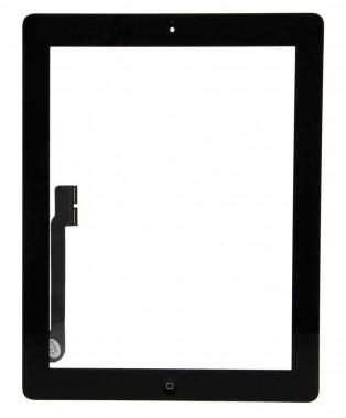 Digitizer Touchscreen Apple iPad 4 A1460 cu buton home si adeziv Negru. Geam Sticla Tableta Apple iPad 4 A1460 cu buton home si adeziv Negru