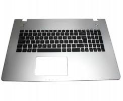 Tastatura Asus  N76VJ neagra cu Palmrest argintiu. Keyboard Asus  N76VJ neagra cu Palmrest argintiu. Tastaturi laptop Asus  N76VJ neagra cu Palmrest argintiu. Tastatura notebook Asus  N76VJ neagra cu Palmrest argintiu