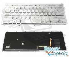 Tastatura Sony Vaio SVF14N argintie iluminata backlit. Keyboard Sony Vaio SVF14N argintie. Tastaturi laptop Sony Vaio SVF14N argintie. Tastatura notebook Sony Vaio SVF14N argintie