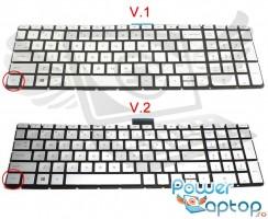 Tastatura HP Pavilion 15-bc011nl argintie iluminata. Keyboard HP Pavilion 15-bc011nl. Tastaturi laptop HP Pavilion 15-bc011nl. Tastatura notebook HP Pavilion 15-bc011nl