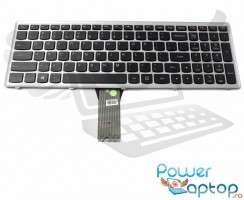 Tastatura Lenovo IdeaPad Z501 rama gri iluminata backlit. Keyboard Lenovo IdeaPad Z501 rama gri. Tastaturi laptop Lenovo IdeaPad Z501 rama gri. Tastatura notebook Lenovo IdeaPad Z501 rama gri