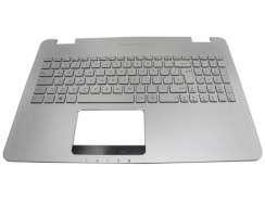 Tastatura Asus G58 argintie cu Palmrest argintiu iluminata backlit. Keyboard Asus G58 argintie cu Palmrest argintiu. Tastaturi laptop Asus G58 argintie cu Palmrest argintiu. Tastatura notebook Asus G58 argintie cu Palmrest argintiu