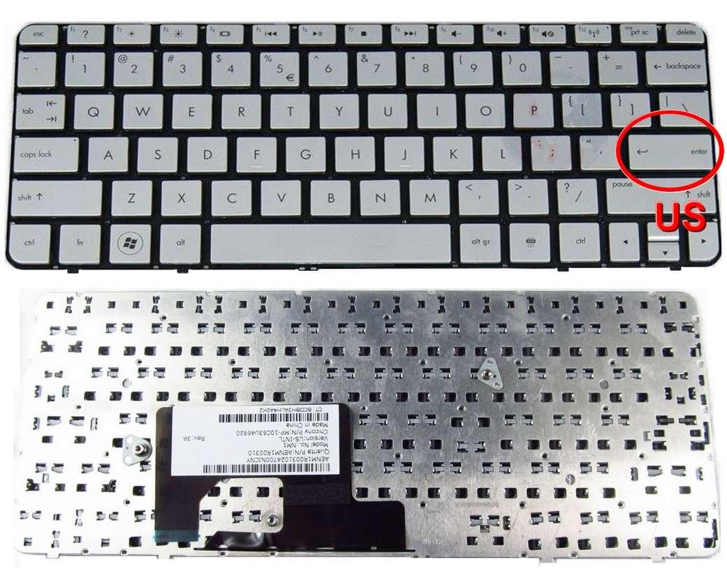 Tastatura HP Mini 210 3000 argintie layout US fara rama enter mic imagine powerlaptop.ro 2021