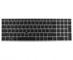 Tastatura HP EliteBook 850 G5 Neagra cu rama argintie iluminata backlit. Keyboard HP EliteBook 850 G5 Neagra cu rama argintie. Tastaturi laptop HP EliteBook 850 G5 Neagra cu rama argintie. Tastatura notebook HP EliteBook 850 G5 Neagra cu rama argintie