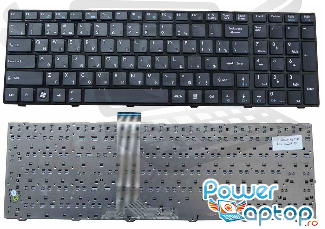 Tastatura MSI GE620DX 297NL layout US fara rama enter mic imagine powerlaptop.ro 2021