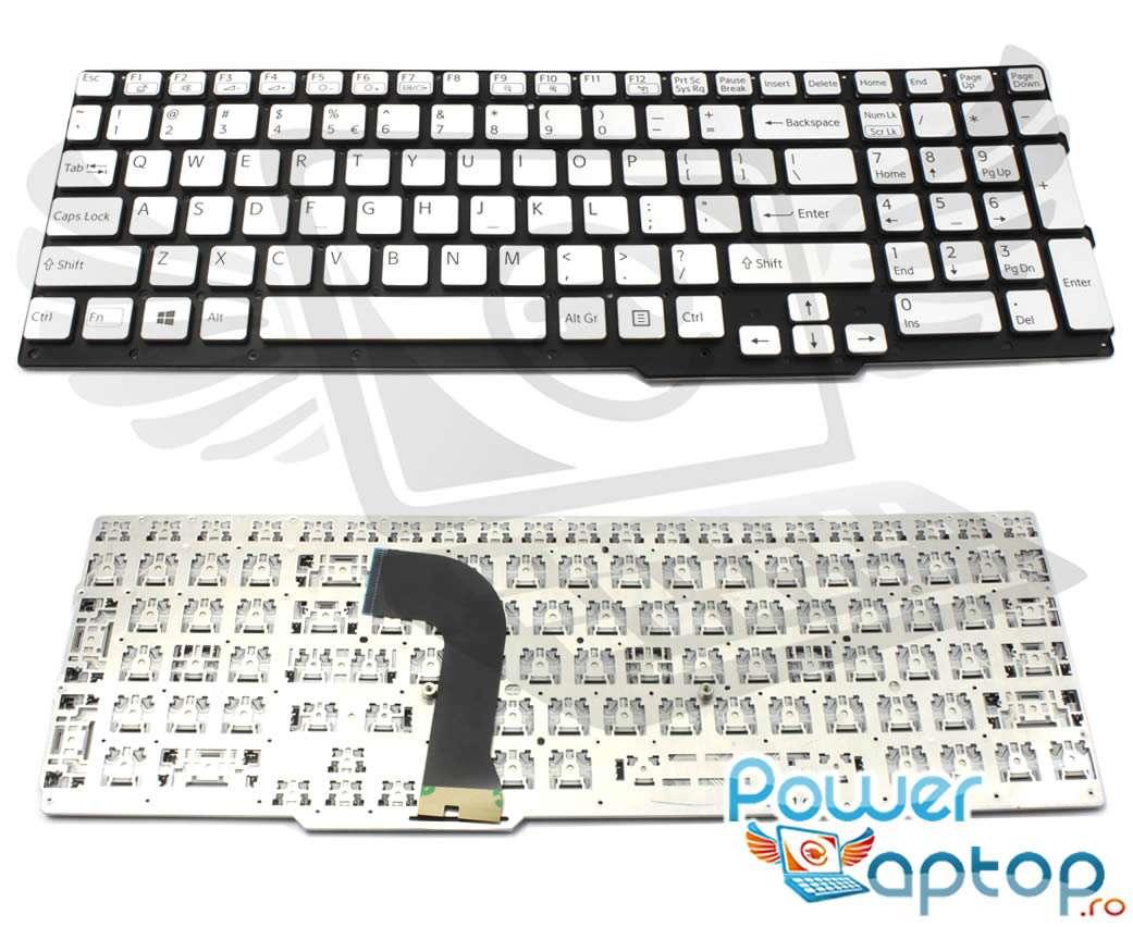 Tastatura argintie Sony 9Z N5CSQ 301 layout US fara rama enter mic imagine powerlaptop.ro 2021