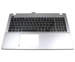 Tastatura Asus  1625DA000A6 neagra cu Palmrest argintiu. Keyboard Asus  1625DA000A6 neagra cu Palmrest argintiu. Tastaturi laptop Asus  1625DA000A6 neagra cu Palmrest argintiu. Tastatura notebook Asus  1625DA000A6 neagra cu Palmrest argintiu