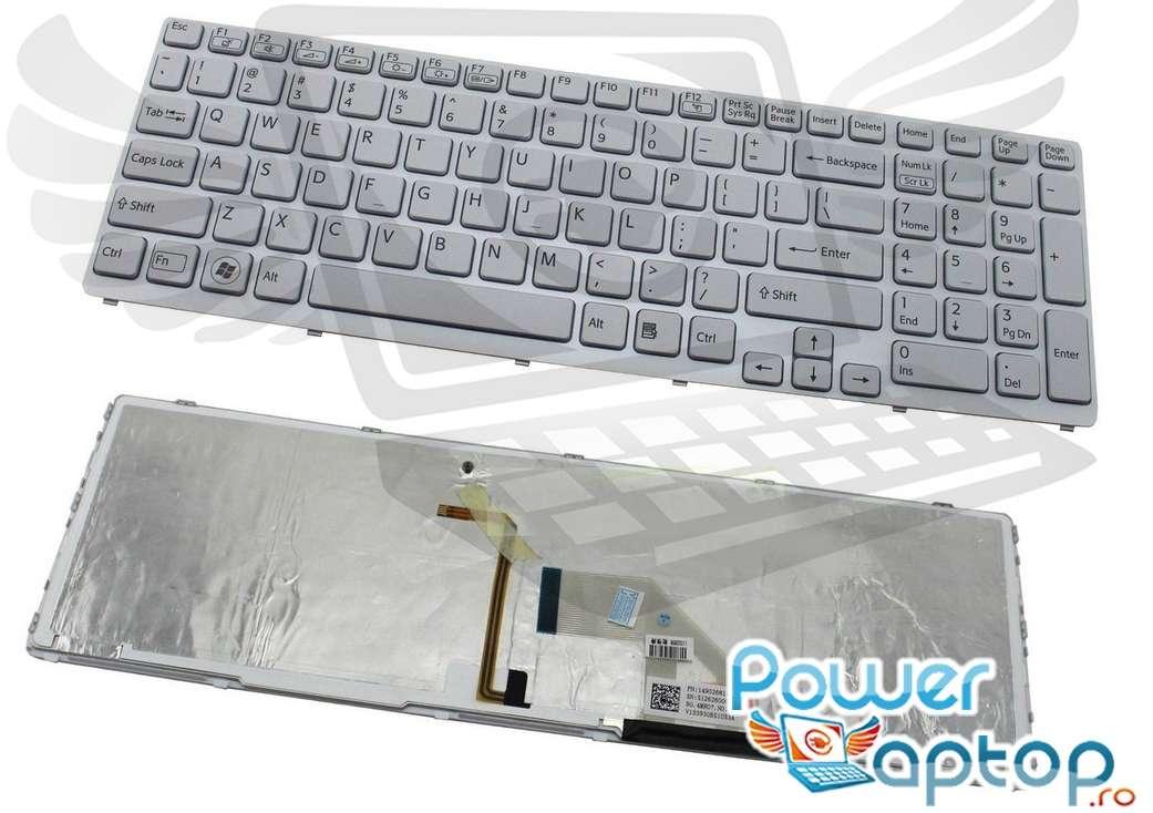 Tastatura Sony Vaio SVE1713 alba iluminata backlit imagine powerlaptop.ro 2021