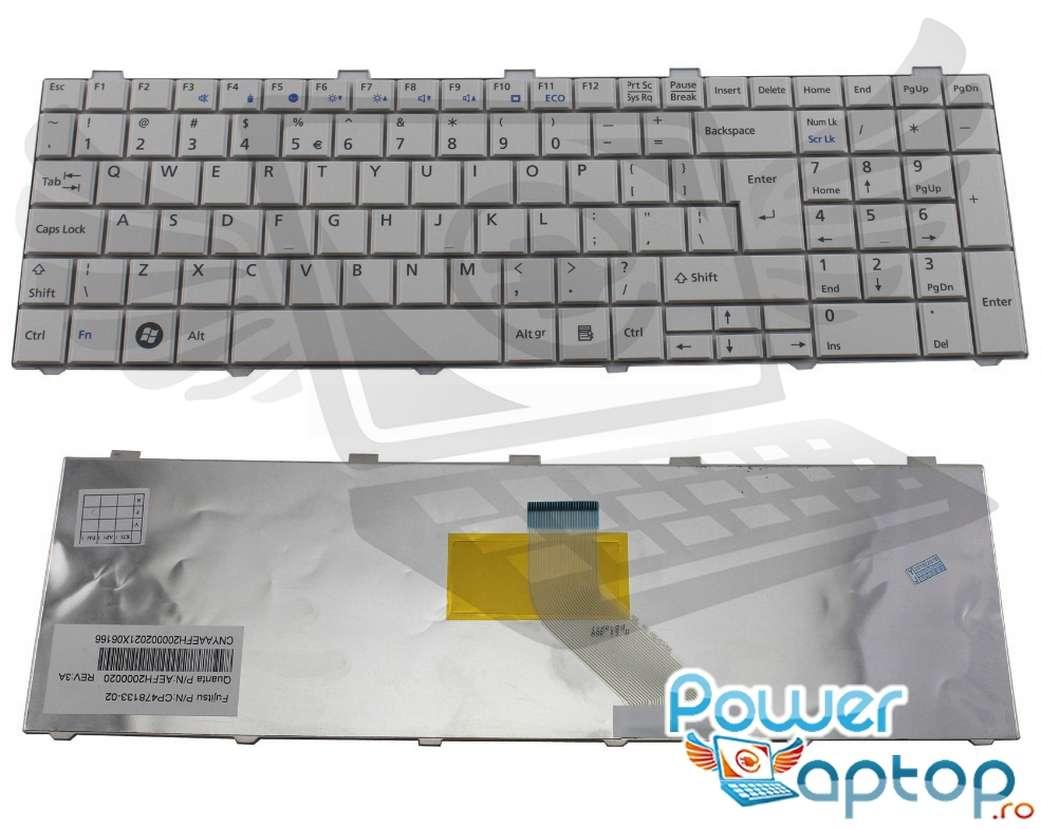 Tastatura Fujitsu Lifebook AH502 alba imagine powerlaptop.ro 2021