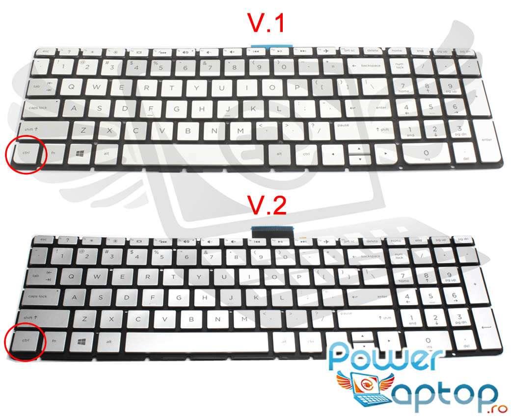 Tastatura argintie HP Pavilion 15 AK iluminata layout US fara rama enter mic imagine powerlaptop.ro 2021