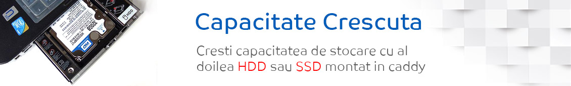 Capacitate de stocare crescuta cu HDD Caddy Toshiba Satellite C50D-C