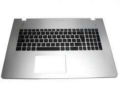 Tastatura Asus  N76VM neagra cu Palmrest argintiu. Keyboard Asus  N76VM neagra cu Palmrest argintiu. Tastaturi laptop Asus  N76VM neagra cu Palmrest argintiu. Tastatura notebook Asus  N76VM neagra cu Palmrest argintiu