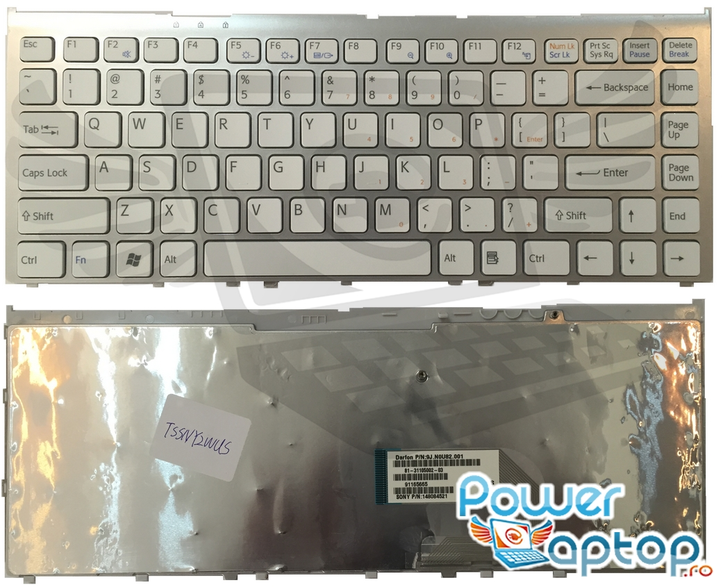 Tastatura Sony Vaio VGN FW74FB alba imagine powerlaptop.ro 2021