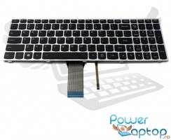 Tastatura Lenovo  G50-80 rama gri iluminata backlit. Keyboard Lenovo  G50-80 rama gri. Tastaturi laptop Lenovo  G50-80 rama gri. Tastatura notebook Lenovo  G50-80 rama gri
