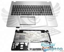 Tastatura Asus  R501V8 neagra cu Palmrest argintiu. Keyboard Asus  R501V8 neagra cu Palmrest argintiu. Tastaturi laptop Asus  R501V8 neagra cu Palmrest argintiu. Tastatura notebook Asus  R501V8 neagra cu Palmrest argintiu