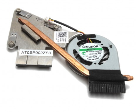 Cooler laptop Dell  AT0EP002ZS0 cu heatpipe. Ventilator procesor Dell  AT0EP002ZS0. Sistem racire laptop Dell  AT0EP002ZS0