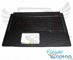 Tastatura Asus  90NR0GP1-R31UI0 neagra cu Palmrest negru iluminata backlit. Keyboard Asus  90NR0GP1-R31UI0 neagra cu Palmrest negru. Tastaturi laptop Asus  90NR0GP1-R31UI0 neagra cu Palmrest negru. Tastatura notebook Asus  90NR0GP1-R31UI0 neagra cu Palmrest negru
