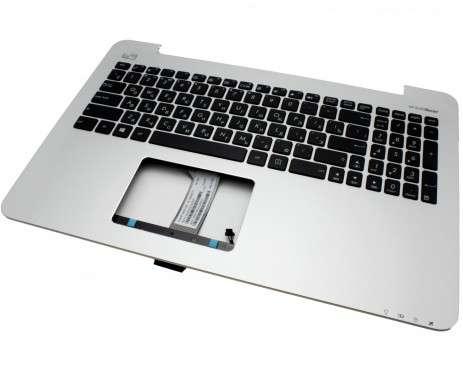 Tastatura Asus 0KN0-R91RU22 neagra cu Palmrest argintiu. Keyboard Asus 0KN0-R91RU22 neagra cu Palmrest argintiu. Tastaturi laptop Asus 0KN0-R91RU22 neagra cu Palmrest argintiu. Tastatura notebook Asus 0KN0-R91RU22 neagra cu Palmrest argintiu