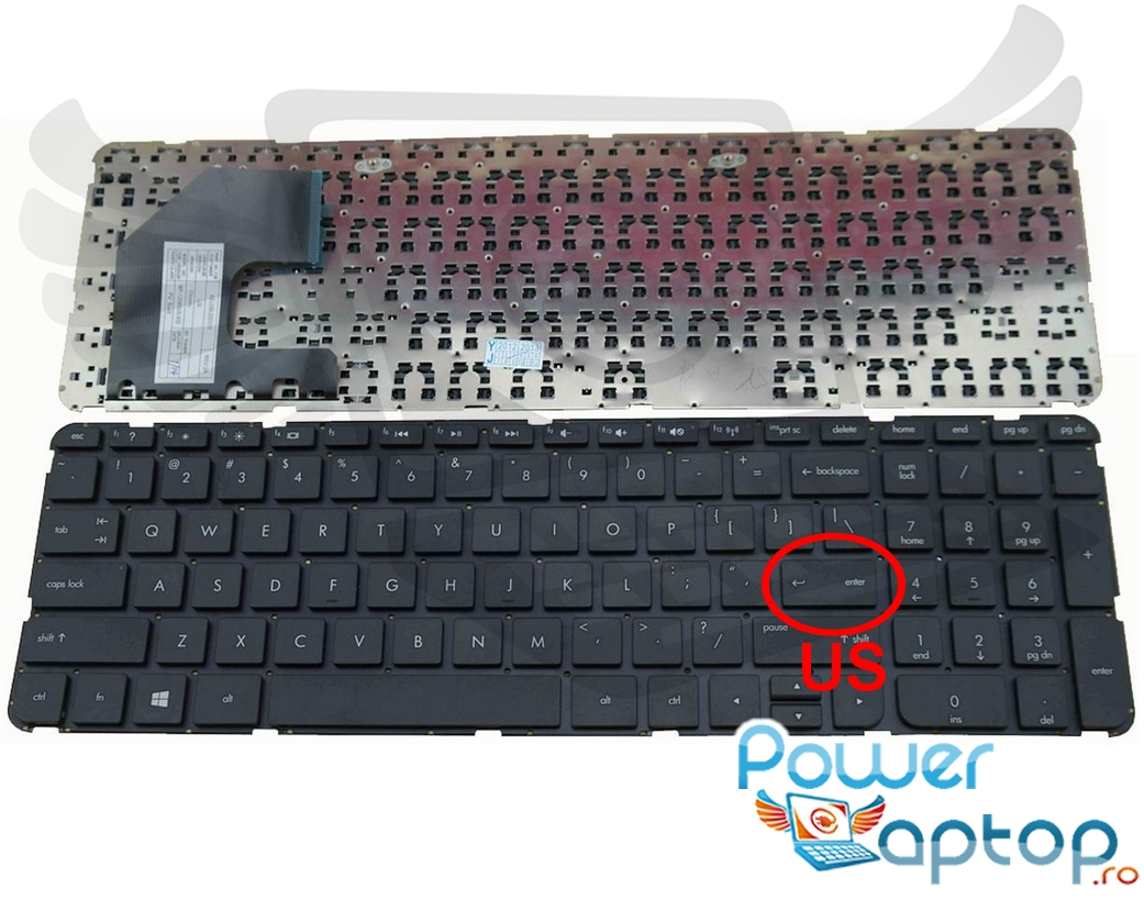 Tastatura HP Pavilion 15 b140 layout US fara rama enter mic imagine powerlaptop.ro 2021