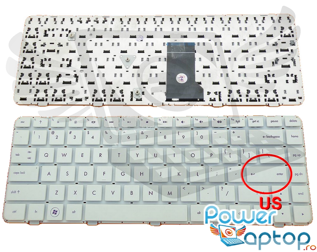 Tastatura HP Pavilion DM4 1170 alba layout US fara rama enter mic imagine powerlaptop.ro 2021