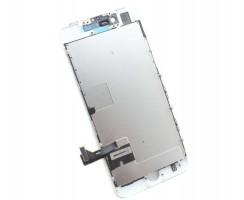 Display iPhone SE 2020 A2275 Complet, cu tablita metalica pe spate, conector pentru amprenta si ornamente camera si casca.
