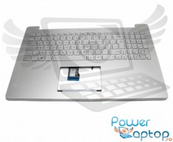 Tastatura Asus BES0N8SLQ03 argintie cu Palmrest argintiu iluminata backlit. Keyboard Asus BES0N8SLQ03 argintie cu Palmrest argintiu. Tastaturi laptop Asus BES0N8SLQ03 argintie cu Palmrest argintiu. Tastatura notebook Asus BES0N8SLQ03 argintie cu Palmrest argintiu
