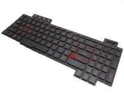 Tastatura Asus TUF Gaming FX504GD-RS51 neagra cu iluminare rosie pe marginea tastelor iluminata. Keyboard Asus TUF Gaming FX504GD-RS51. Tastaturi laptop Asus TUF Gaming FX504GD-RS51. Tastatura notebook Asus TUF Gaming FX504GD-RS51