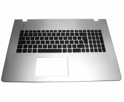 Tastatura Asus  N76VZ neagra cu Palmrest argintiu. Keyboard Asus  N76VZ neagra cu Palmrest argintiu. Tastaturi laptop Asus  N76VZ neagra cu Palmrest argintiu. Tastatura notebook Asus  N76VZ neagra cu Palmrest argintiu