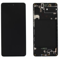 Ansamblu Display LCD + Touchscreen Samsung Galaxy A71 A715 Display Original Service Pack Negru Black Negru . Ecran + Digitizer Samsung Galaxy A71 A715 Display Original Service Pack Negru Black