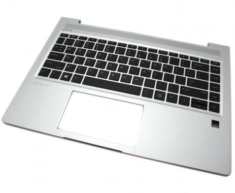 Tastatura HP ProBook 445 G7 Neagra cu Palmrest Argintiu iluminata backlit. Keyboard HP ProBook 445 G7 Neagra cu Palmrest Argintiu. Tastaturi laptop HP ProBook 445 G7 Neagra cu Palmrest Argintiu. Tastatura notebook HP ProBook 445 G7 Neagra cu Palmrest Argintiu