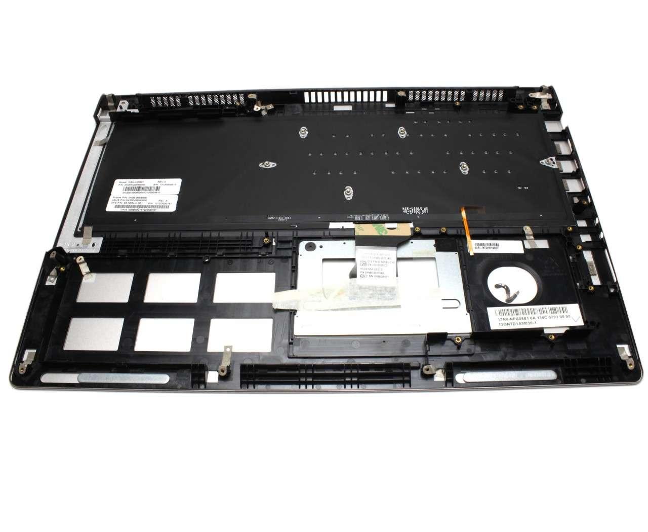 Tastatura Asus NSK-USGLU neagra cu Palmrest argintiu iluminata backlit imagine powerlaptop.ro 2021