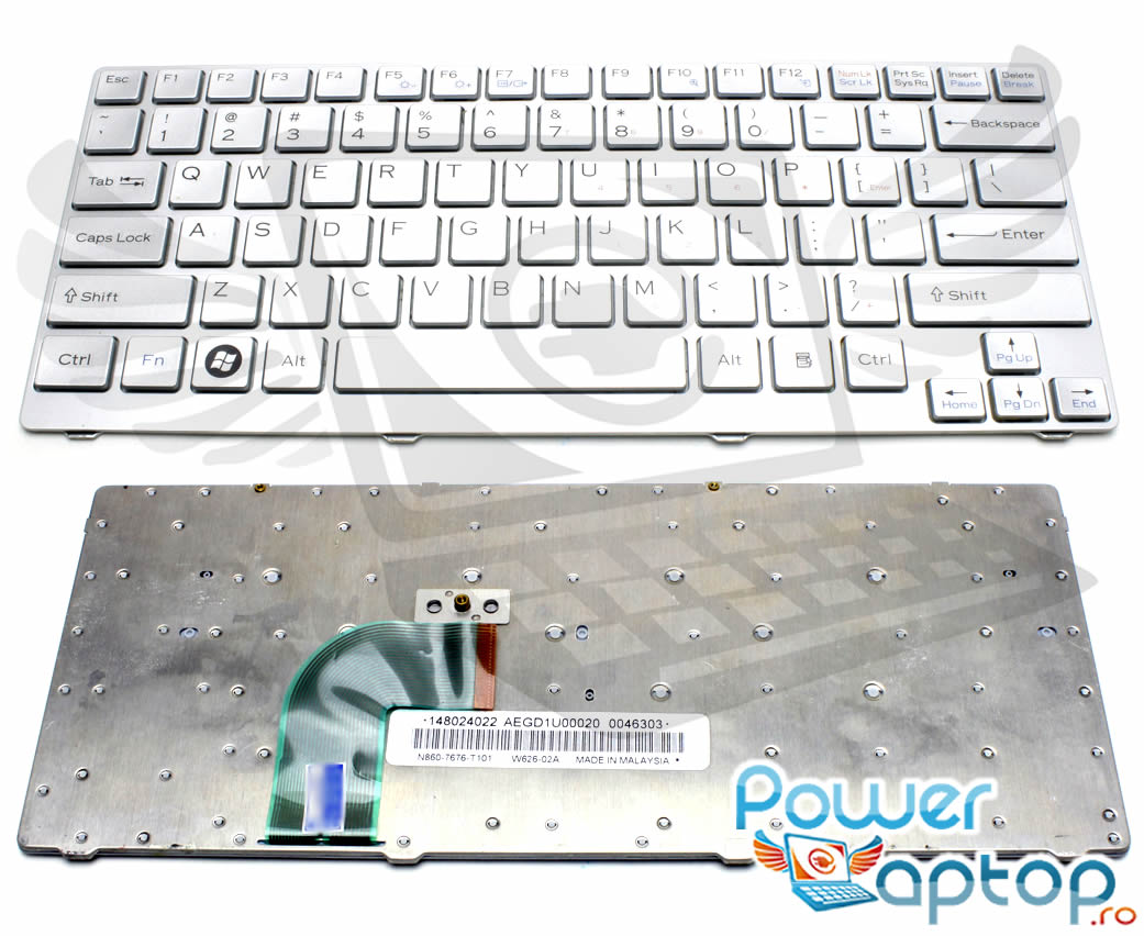 Tastatura Sony Vaio SVE14AG13L argintie imagine powerlaptop.ro 2021