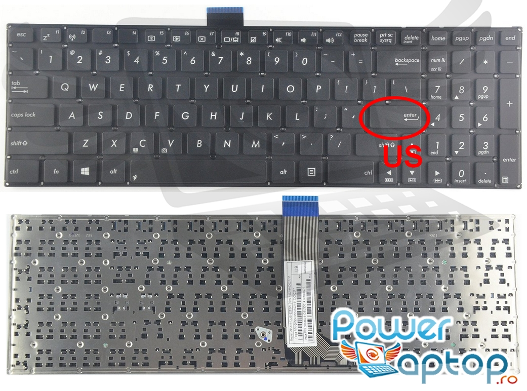 Tastatura Asus X502CA layout US fara rama enter mic imagine