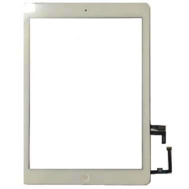 Digitizer Touchscreen Apple iPad 5 A1823 cu buton home si adeziv Alb. Geam Sticla Tableta Apple iPad 5 A1823 cu buton home si adeziv Alb